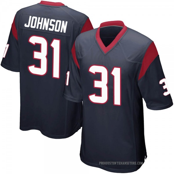 Men's David Johnson Houston Texans Game Navy Blue Team Color Jersey